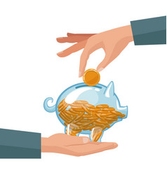 People hands depositing coins in a money piggy vector
