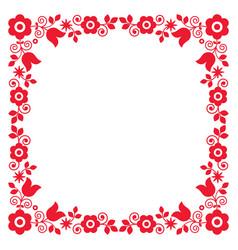 Polish floral folk art square frame design vector