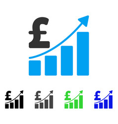 pound sales growth chart flat icon vector image