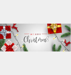 red christmas gifts and reindeer decoration banner vector image