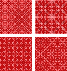 Red seamless pattern background set vector