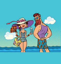 Retro couple at sea young woman bearded vector