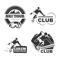 Retro ski emblems badges and logos set vector