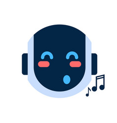 Robot face icon singing smiling face emotion vector