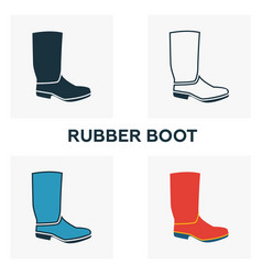 rubber boots icon set four elements in diferent vector image