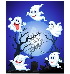 Scene with Halloween ghost vector