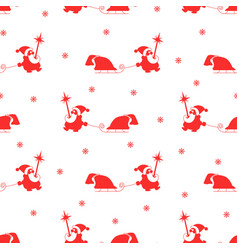Seamless pattern red silhouette of santa claus vector