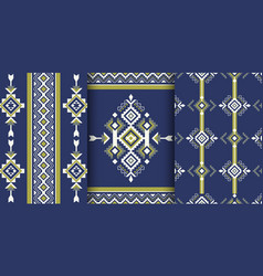 set of geometric patterns in ethnic style vector image