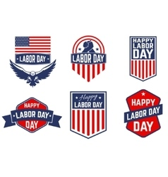 set of labor day greeting card badge vector image