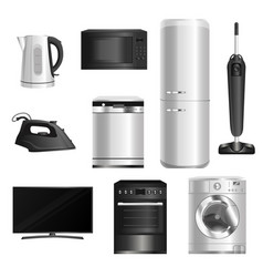 Set old appliances isolated on a white vector