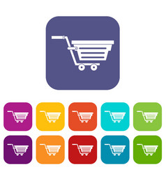 Shopping basket on wheels icons set flat vector