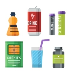Sports food nutrition icons vector image