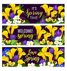 Spring holiday floral banner with blooming flower vector