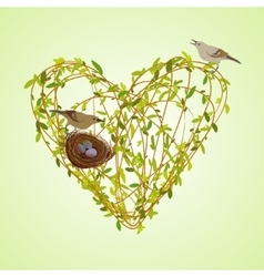 Spring twigs heart shape vector image
