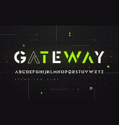 stenciled futuristic san serif alphabet vector image