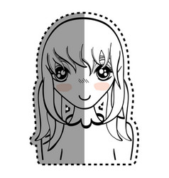 sticker anime happy cute woman vector image
