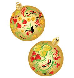 Strawberry ornaments on christmas balls vector
