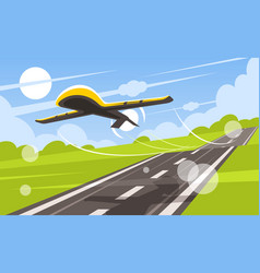 uav takes off from runway vector image