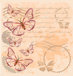 Vintage background with butterflies vector