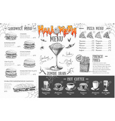 Vintage halloween menu design restaurant menu vector