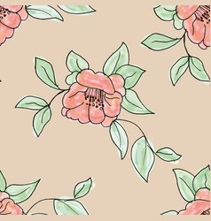 Watercolor green with pink appel blossom repeat vector