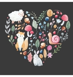 Watercolor heart with animals vector image