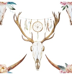 Watercolor pattern with deer head vector