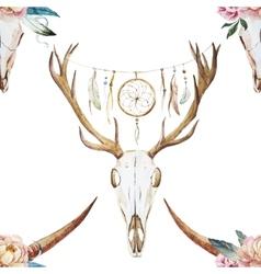 Watercolor pattern with deer head vector image