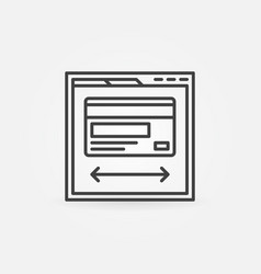 Web page with credit card icon in thin line style vector