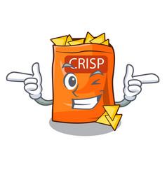 Wink crispy potato chips in bowl cartoon vector