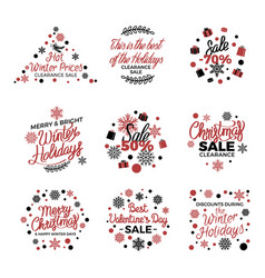 Winter holiday sale labels poster on white vector