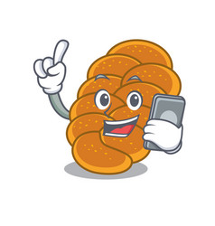 With phone challah character cartoon style vector