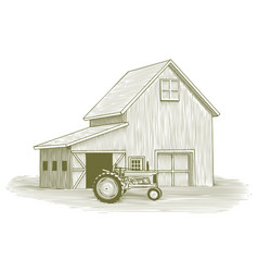Woodcut tractor and barn vector