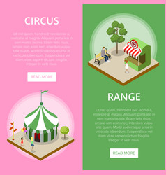 Amusement park isometric vertical flyers vector