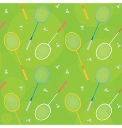 Badminton green seamless pattern vector image vector image