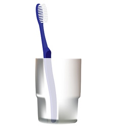 Blue toothbrush in glass vector image vector image