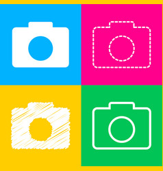 digital camera sign four styles of icon on four vector image