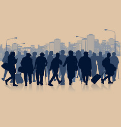 huge crowd of people silhouette in the city vector image