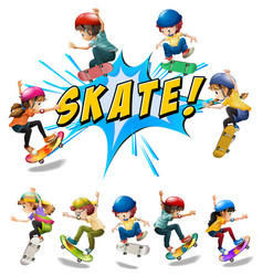many kids playing skate vector image vector image