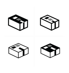 parcel box icons set vector image vector image