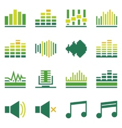 Sound or music soundwave flat green icons vector image