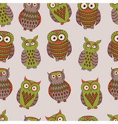 colorful seamless pattern with different owls vector image vector image