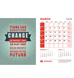 Desk calendar template for 2018 year march design vector
