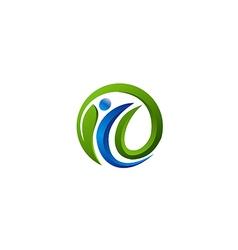 eco people green leaf vegan logo vector image vector image