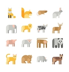 Flat design animals icon set vector image