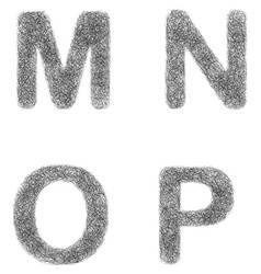 Furry sketch font set - letters m n o p vector