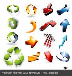 icon set 3d arrows vector image vector image