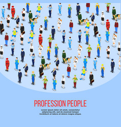 Isometric people professions background vector