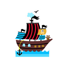 pirate isolated icon with vessel vector image vector image