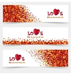 Set of three banners with hearts Valentines Day vector image